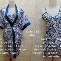 Jual Kimono Satin 3in1 Batik 262 Blue Baju Tidur Piyama Stelan Wanita Murah Murah