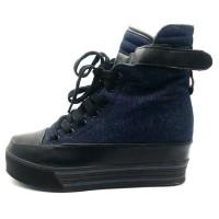 HV10640 Sepatu Kets Wedges Resleting Denim Navy Blue  KODE BIS10694