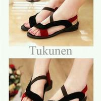 Jual Sepatu Wanita / Cewek Sandal Tali Xena Hitam Merah Murah