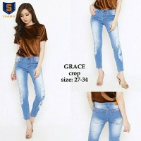 Jual 31-34 GRACE Crop Destroy ripped sobek blue biru jeans Stretch casual Murah