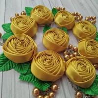 Jual Souvenir Pernikahan Handmade Bros Bunga Mawar kincir Juntai Murah