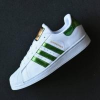 Sepatu Adidas Superstar Putih Hijau / Sneakers Casual Wanita