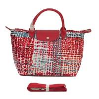 Authentic Longchamp le Pliage Fantaisie Polka Medium Size - Hot Red