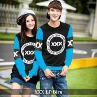 lengan panjang termurah-baju couple keren exo- xxx lp couple biru
