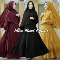 Jual 38 INEZ Syar'i 1  maxi FREE syar'i bubble crep Gamis Hijab Pashmina Murah