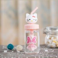 Jual Botol minum kaca bekal anak sekolah ukuran mini hello kitty - KHB005 Murah
