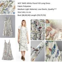 Jual WST 18415 - White Floral Frill Long Dress Murah