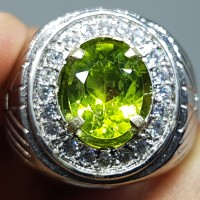 Jual Natural Top Apple Green Peridot Eye Clean In Alpaka Import Sz 21 Murah