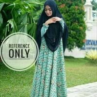 Baju Muslim Syari baju selebgram sisesa kotak green  ( gamis + khimar