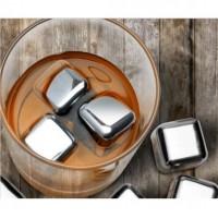 Jual Reusable Stainless Steel Ice Cube 4Pcs / Es Batu Stainless Murah