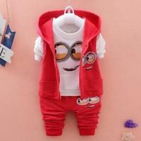 Jual Set Jacket Minion Merah Baju Setelan Anak Cowok Pakaian Anak Cowok Murah