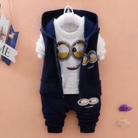 Jual Set Jacket Minion Navy Baju Setelan Anak Cowok Pakaian Anak Cowok Murah
