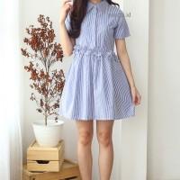 Jual Baju Midi Dress Wanita Katun Strip Shirt Frill Dress Biru Navy Murah