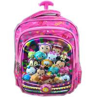 Jual Tas Sekolah Troley Anak TK Gambar Tsum Tsum Mickey Minnie Mouse Pink Murah