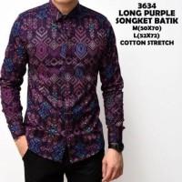 Jual Kemeja Pria - Kemeja Batik Songket Pria Purple Panjang Slimfit Kerja Murah
