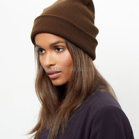 Jual RFT topi kupluk coklat brown khaki beanie hat import Murah