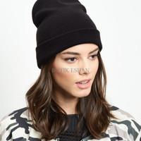 Jual QWE topi kupluk hitam black beanie hat import Murah