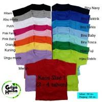 Jual Kaos Polos Anak / Basic tee / kaos oblong anak size 1 (1-3 tahun) Murah
