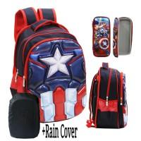 Jual Tas Ransel SD Import Avengers Captain America 6D Timbul RAIN COVER KP Murah