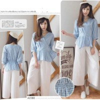Jual Blouse Kimono Style Peplum Gingham | Blus Kotak Silang Murah