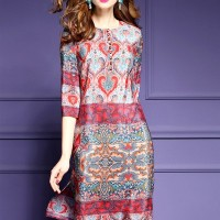 Jual WST 18321 Ethnic Print Silk Dress  Murah