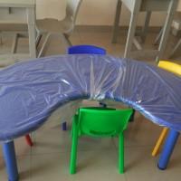 PAKET Meja kursi belajar, KB, TK, PAUD plastik Bentuk Bulan