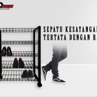 Jual Rak Sepatu/ Sandal 5 susun Hitam Murah