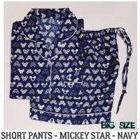 Piyama Big Size Mickey Star Navy Short Pants