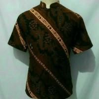 Jual kemeja batik pria solo baju batik cowok krah koko shanghai da13 Murah