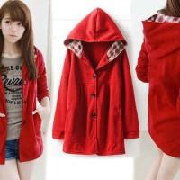 [jaket melda red RO] jaket wanita babyterry merah