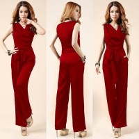 [js Fila red RO] jumpsuit wanita twiscont merah