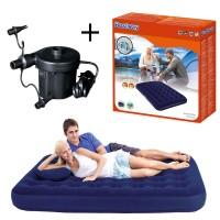 Bestway Flocked Air Bed Double + Pompa Bestway Electric Kasur Angin