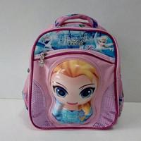 Jual Tas sekolah anak TK Import Frozen Bentuk Boneka 6D timbul Murah