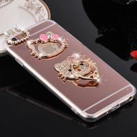 Jual iPhone 6 6s luxury mirror Hello Kitty Stand Holder Diamond Softcase Murah
