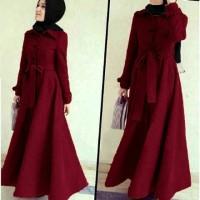 Jual Long coat abu Dhabi Maroon Busana Muslim Wanita Gamis Terbaru Murah