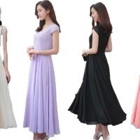 Jual Long Dress Wanita Baju Cewek Korea Import Chiffon Brokat 661 Murah