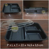 Tray Bento / Bento Box (sekat 3) + Tutup