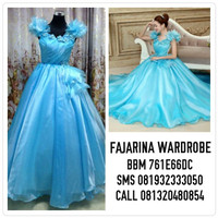 Gaun Pengantin Cinderella Ball Gown Blue Wedding Dress