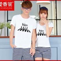 Jual [Cp T-Shirt Beatles CL] couple baju combed putih Murah