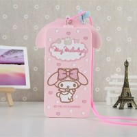 Samsung J5 3D My Melody Bow Neck Strap Soft Silicone Phone case
