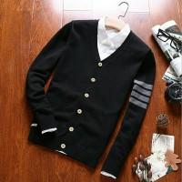 sweater cardigan pria hitam strip