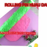Jual ROLLING PIN FONDANT MOTIF HIJAU DAUN EMBOSS CLAY GILING LOVE DIY PRESS Murah