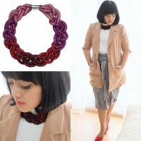 Jual Braided Crystal Necklace - Pink Ombre Murah