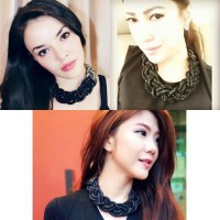 Jual Braided Crystal Necklace - Black Ombre Murah