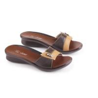 Jual Sandal Flat Wanita Kulit Coklat JK Collection Murah