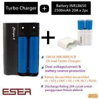 Jual SKU Eser TurboCharger 6 + Battery INR18650 2500mAh 20A x 2PC Murah