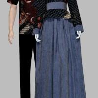 Jual Couple batik sarimbit gamis baju pasangan pesta seragam d1747 Murah