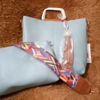 Ready stock Tas strap shoulder bag biru miniso japan 2 in 1 hits