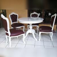 Kursi & Meja Makan Ganesha Cat Duco Bulat Kayu Jati Furniture Jepara