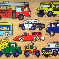 Jual puzzle kendaraan dinas mainan kayu edukasi Murah